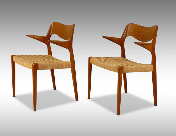 Møller #55 Teak Armchairs (Pair) - *Please ask for a shipping quote before you purchase. by CoolCatVintagePA