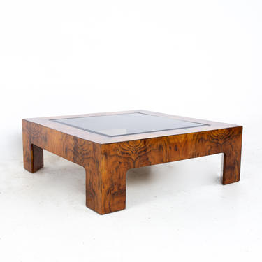 Milo Baughman Style Mid Century Burlwood and Glass Square Coffee Table - mcm by ModernHill