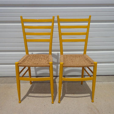 Epic Set of 2 Italian Gio Ponti Ladderback Chairs Mid Century Seating Modern Dining Midcentury Chair Danish Wood Danish Cord Seat MCM Yellow by DejaVuDecors