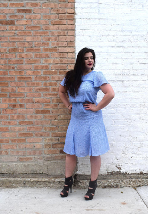 70s Prom Dress   Light Blue Dress   Floral Print Dress   Drop Waist ...