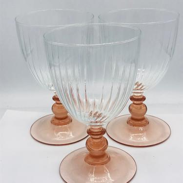 Vintage Large Clear Glass Wine Glasses Pink Ball Stem, Clear Ribbed Wine Goblets Pink Ball Stems, Pink Depression Goblets by JoAnntiques
