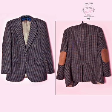 Evan-Picone Wool Elbow Patch, Mens Vintage Suit Blazer Jacket 40 regular, Leather Suede 1970's, 1980's Designer Coat, Tan Brown Black Check by Boutique369