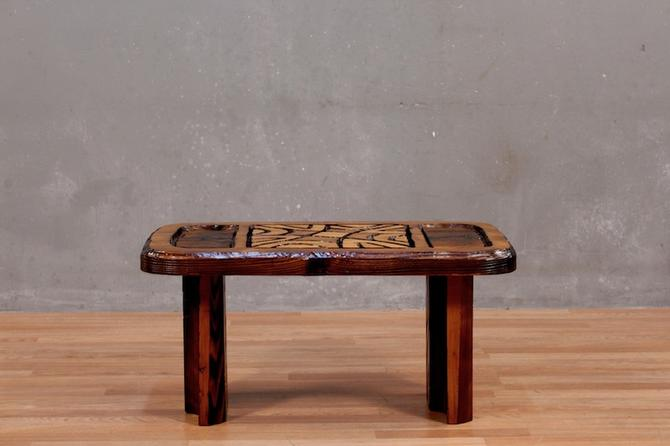 Compact Mid Century Carved Tiki Coffee Table