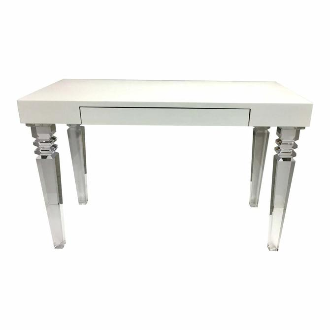 Contemporary White Lacquer and Acrylic Writing Desk (AS IS)