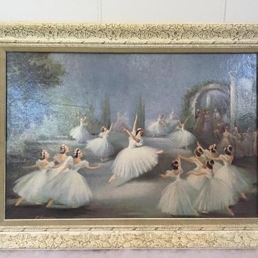 Vintage 50's Ballerina Framed Carlotta Edwards Print, Mid Century Modern Retro Ballet L'Aiglon Ballet, Shabby Chic by luckduck
