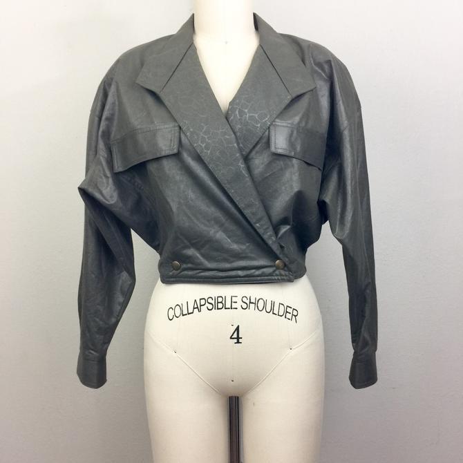 Vintage 80s Olive Green Animal Print Jacket La Belle S by FlashbackATX