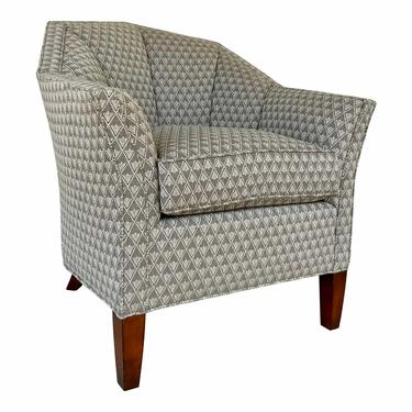 Theodore Alexander Modern Chocolate Brown and White Dimond Pattern Club Chair