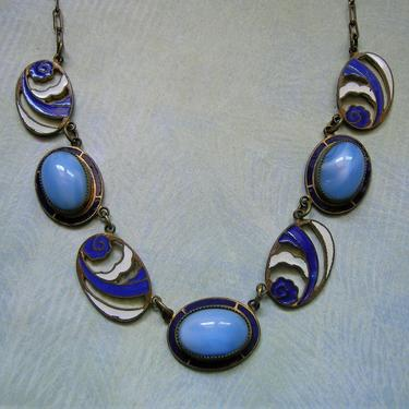 Beautiful Antique Art Deco Czech Blue Glass Necklace, Vintage Czech Necklace, Old Brass and Enamel Czech Necklace  (#3867) by keepsakejewels