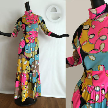 MOD Psychedelic Maxi Dress • Vintage 1960s 70s Neon Day Glow Swirl Pucci Style Print Hippie Boho Twiggy Carnaby Street • Prairie Ruffle Hem by elliemayhems