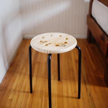 Industrial Plant Stand, Schoolhouse Stool, MCM Plant Stand, Wood and Black Stool by cedargrey