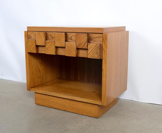 Lane Oak Nightstand Brutalist Paul Evans Style Mid Century Modern by HearthsideHome