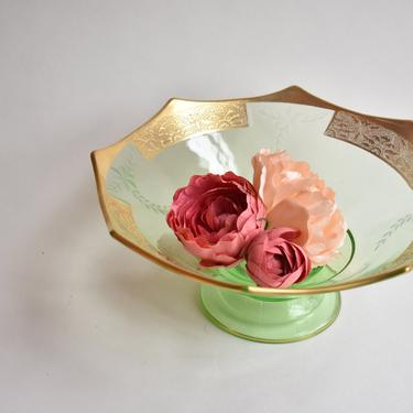 Pedestal Green & Gold Depression Glass Fruit Bowl Candy Dish Console Bowl w/ Applied Gold with Scalloped Edging | Centerpiece | Housewarming by LostandFoundHandwrks