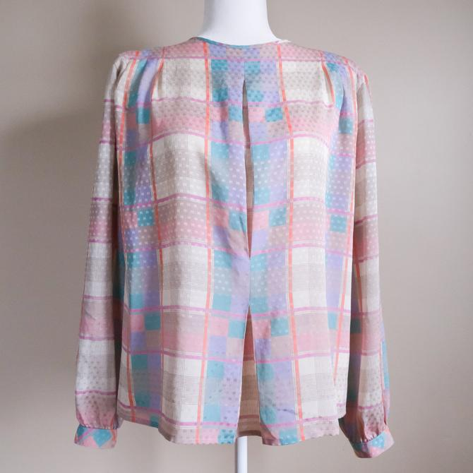 80s Pastel Abstract Linear Blouse by Liz Claiborne | Medium/Large by MuteVintage