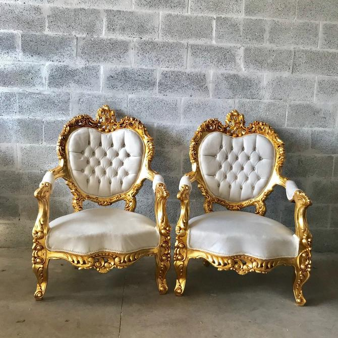 French Sofa Louis XVI Furniture Rococo Chair Antique Settee White Velvet Tufted Chair *5 Piece Set Available* Gold Baroque Chair Gold Leaf by SittinPrettyByMyleen