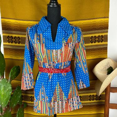 Vintage 1960s / 70s Tunic Top Groovy Partridge Family Style by DesertCactusVintage