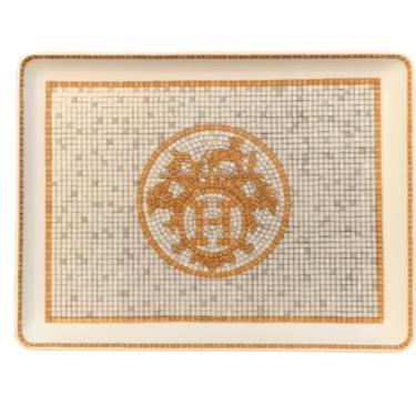 Vintage HERMES H Monogram 24K GOLD Ceramic Jewelry Trinket Tray Catch All Dish Home Decor White / Gold by MoonStoneVintageLA
