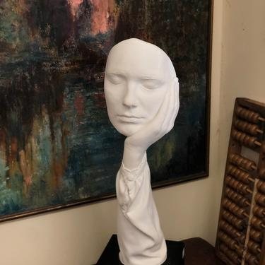 Vintage mid century modern ceramic face statue deco retro signed sculpture face hand calm abstract by BigWhaleConsignment