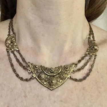 40s Rice Weiner Etrusceana Necklace | Festoon Style | Victorian Revival | Etruscan Revival by HartAndShapeVintage