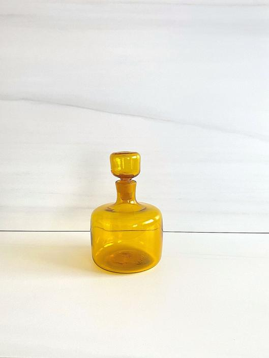 Jonquil Yellow Vintage Wayne Husted BLENKO Decanter Mid Century Modern Barware Art Glass Bottle w/ Stopper 5816-S by SwankyChaperooo