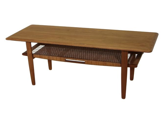 Danish Teak And Cane Coffee Table by RetroPassion21