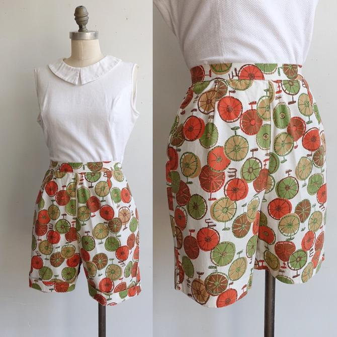 Vintage 60s Unicycle Cotton Shorts/ 1960s High Waisted Bermuda Shorts/ Side Zip/ Size 25 by bottleofbread