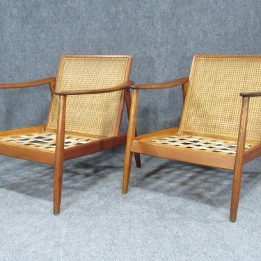 Pair of Swedish Modern Folke Ohlsson Lounge Teak Arm Chair with Cane Backrest for Dux