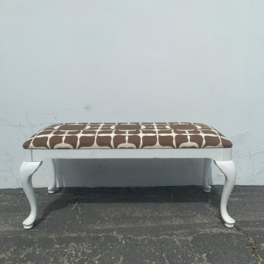 Bench Bed Vintage Vanity White Wood Seating Hollywood Glam Regency French Provincial Seating Bedroom Upholstered Boudoir Chair Chic Dining by DejaVuDecors