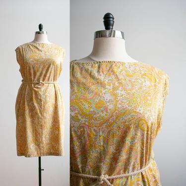 Vintage 1970s Paisley Tent Dress / Vintage Mod Dress XXL / Soft Cotton Plus Sized Vintage Dress / 70s Cotton Tent Dress XXL / Trapeze Dress by milkandice