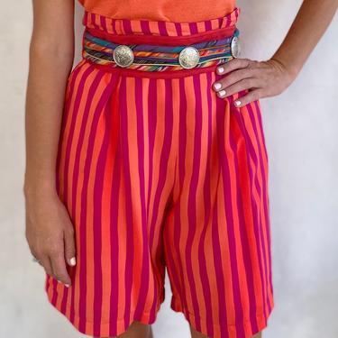 Vintage 1990s Silk Orange & Magenta Stripe Shorts - Summer Statement Print Skort - Medium by LittleSparkVintage