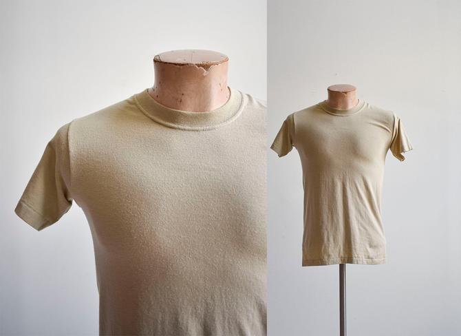 Vintage Tan Blank Athletic Tshirt by milkandice