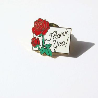 Vintage Rose Thank You Enamel Pin - 70s Red Rose Enamel Lapel Pin - Single Stem Rose Pin - Vintage Thank You Pin by MILKTEETHS
