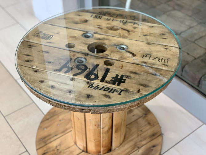 Small Spool Table with Glass Top   Spool Side Table   Spool Coffee Table   Spool Nightstand   Industrial Table   Round Table   Rustic Table by PiccadillyPrairie