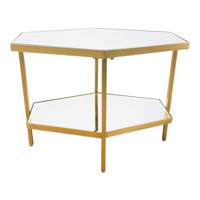 Modern Geometric Gold Metal and Mirror Side Table