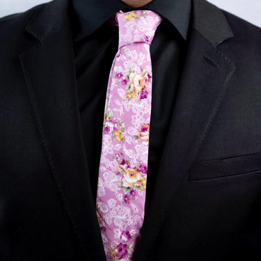 Mens Pink Floral Tie,Retro Tie, Casual, Men's, Groomsmen , Vintage , Handmade , Wedding , Gift , Skinny, Classic, Necktie, Boyfriend by LookGreatWL