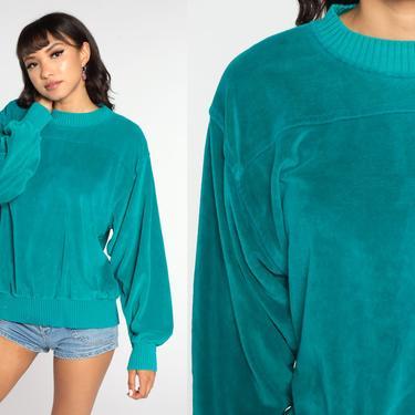 80s Velour Sweatshirt -- Teal Sweatshirt Soft Long Sleeve Shirt 80s Retro Top Plain Sweatshirt 1980s Pullover Sweater Medium Large by ShopExile