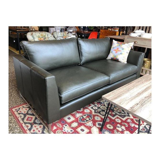 Crate and Barrel Olive Green Leather Sofa //