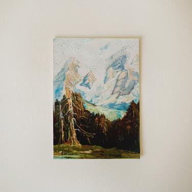 Vintage Oil Painting Print, Mountain Print, Trees, Blues and Greens, Gift for Him Her by cedargrey