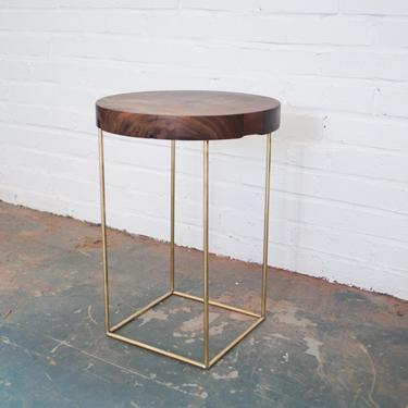 Crescent Side Table - Solid Walnut and Brass Base by OlivrStudio
