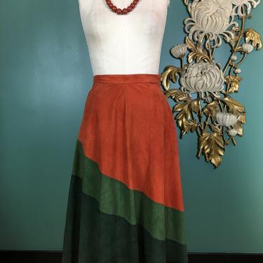 1970s skirt, color block skirt, vintage 70s skirt, suede skirt, 26 waist, small, rust and olive green, hippie, bohemian skirt, high waist by BlackLabelVintageWA
