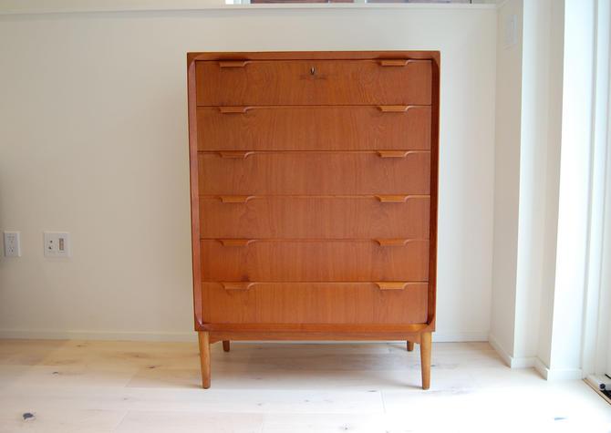 Danish Modern Teak Tall Dresser with Oak Legs by MidCentury55