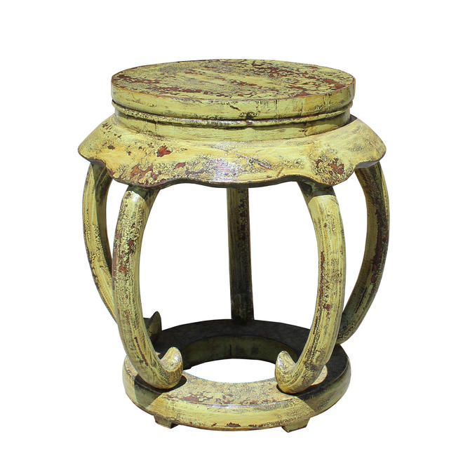 Distressed Yellow Lime Lacquer Curved Legs Wood Stool Table cs5127E by GoldenLotusAntiques