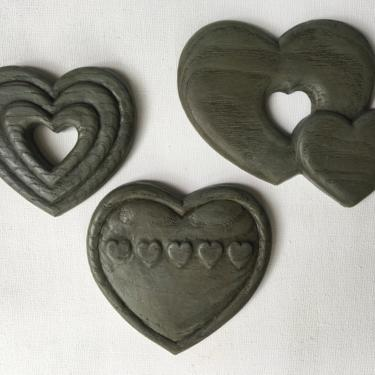 Vintage Hearts Wall Hangings By Burwood, Faux Wood Plastic, Set Of 3 Heart Plaques by luckduck