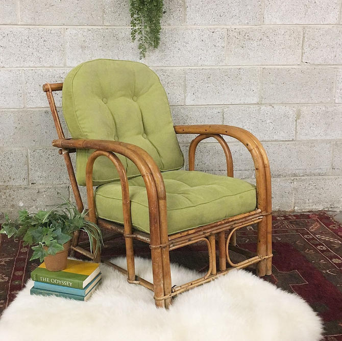 LOCAL PICKUP ONLY ------------- Vintage Rattan Lounge Chair by RetrospectVintage215