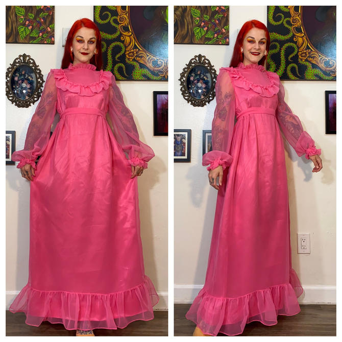 Vintage 1970's Pink Frilly Chiffon Gown by SurrealistVintage