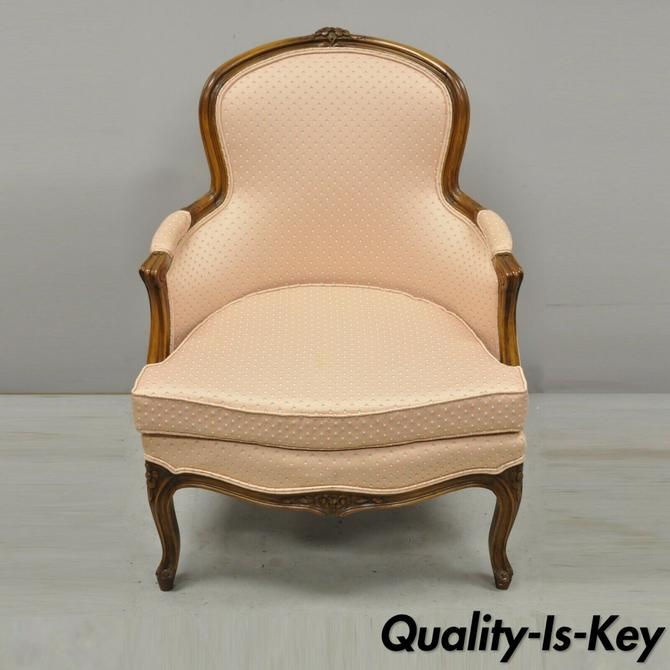 Vintage French Provincial Louis XV Style Pink Upholstered Bergere Arm Chair