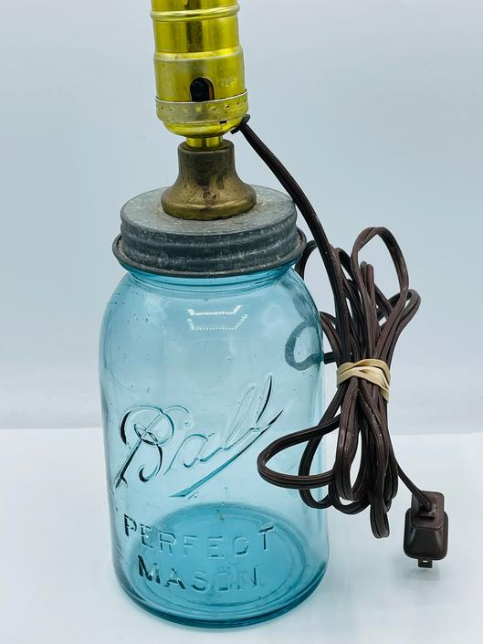 Vintage Ball Perfect Mason Blue Glass Canning Jar Electric Lamp by JoAnntiques