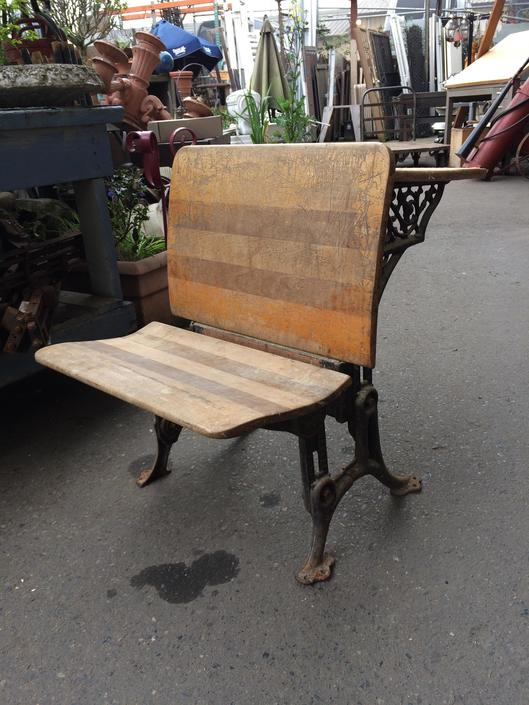 Antique Cast Iron and Wood Tandem School Desk