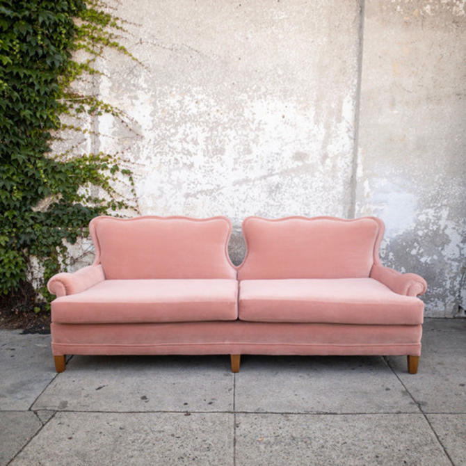 1960's Vintage Exquisite Hollywood Regency Pink Velvet Sofa *Newly Upholstered