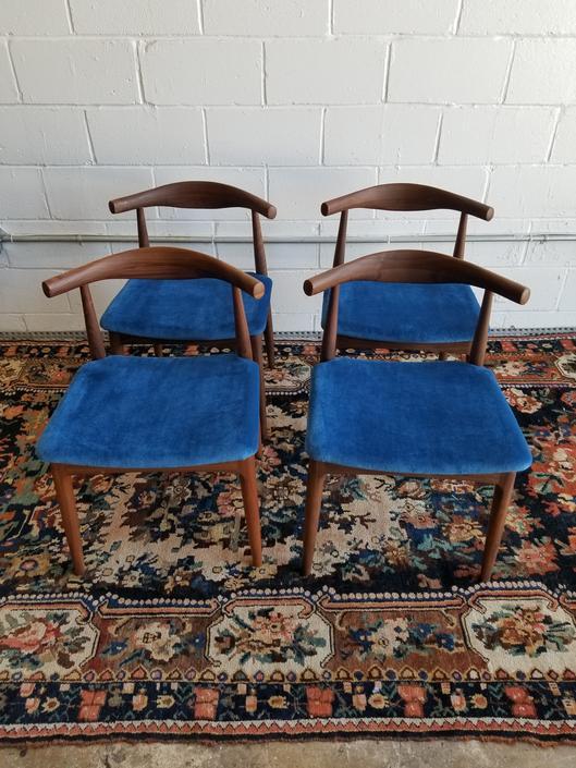 Set of 4 Mid Century Danish Dining Chairs w/ blue velvet upholstery