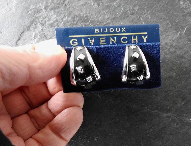 Givenchy NWT Silver Tone Black Enamel Earrings with G's by LegendaryBeast